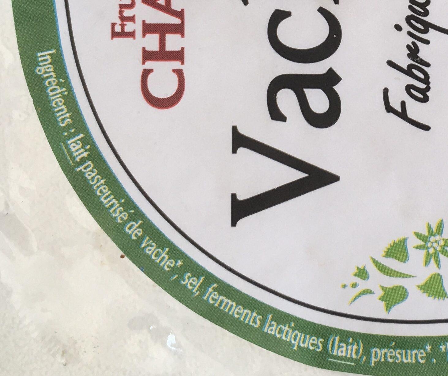 Fromage bio Vacherin Fruitières Chabert - Ingrédients - fr