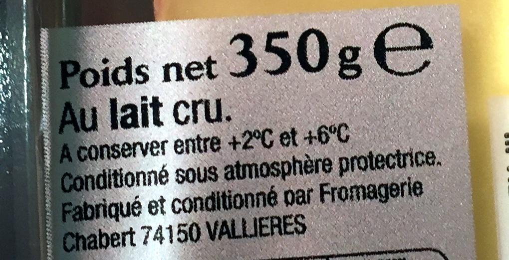raclette de Savoie - Ingrédients