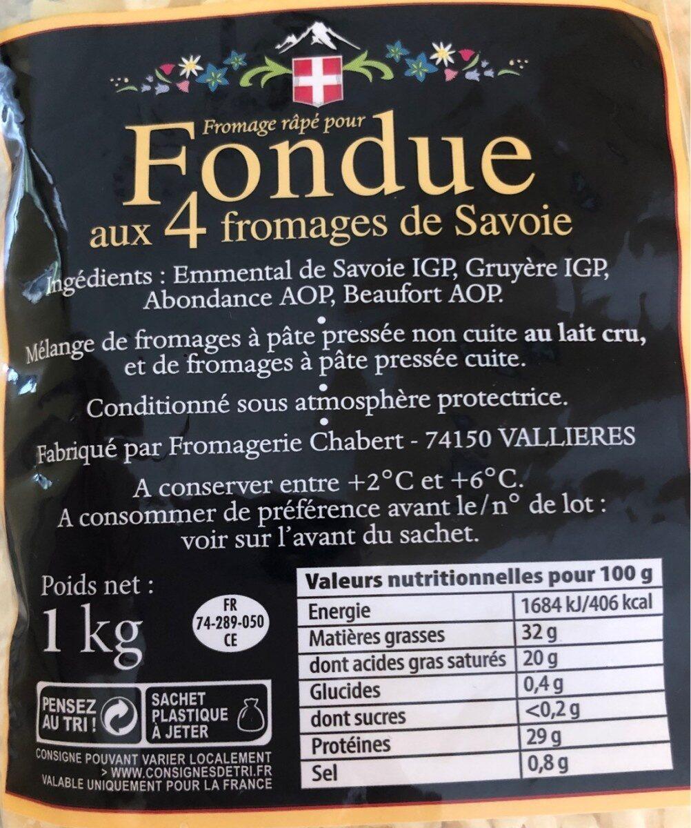 fromage râpé pour Fondue aux 4 fromages de Savoie - Informations nutritionnelles - fr