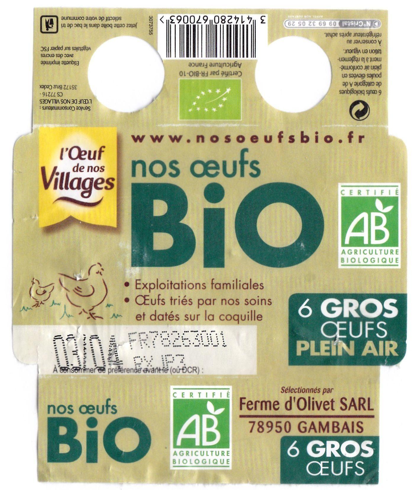 6 Gros œufs plein air Bio - Produit - fr