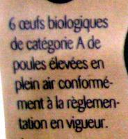 6 Gros œufs plein air Bio - Ingrédients - fr