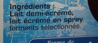 Yaourt nature fermier - Ingrédients - fr