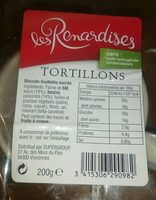 Tortillons - Ingredients