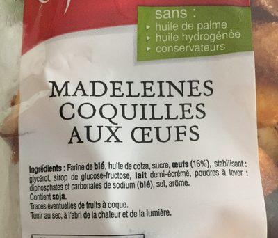 Madeleine - Ingrédients - fr