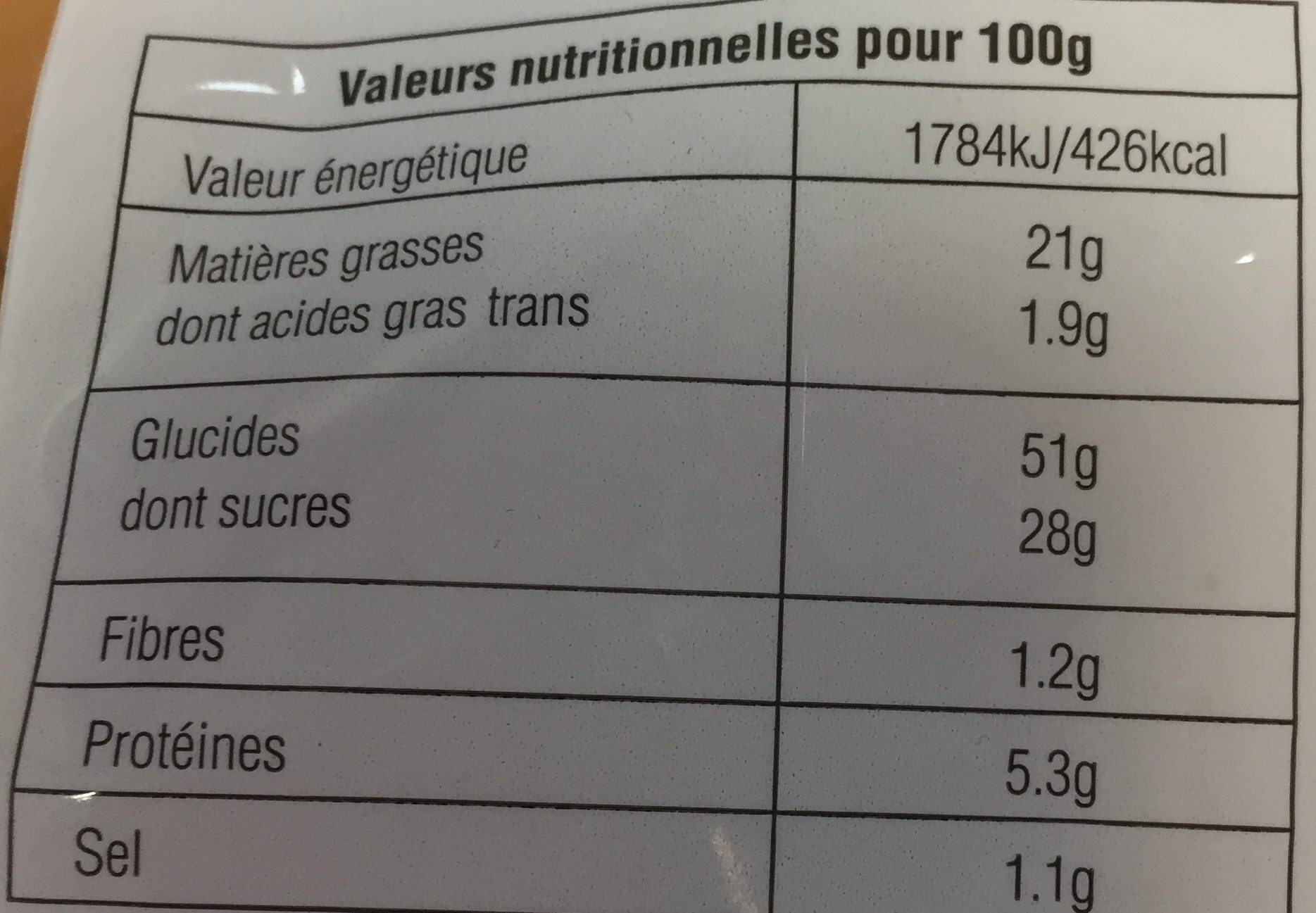 Madeleine - Informations nutritionnelles - fr