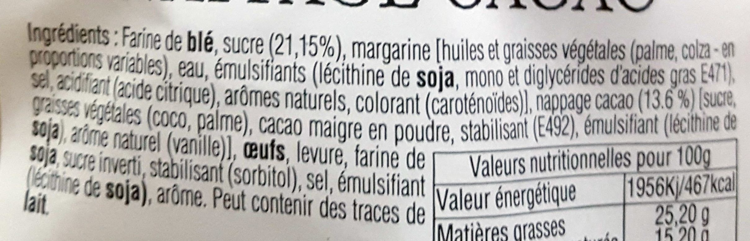 Gaufres liégeoises nappage cacao - Ingrédients - fr