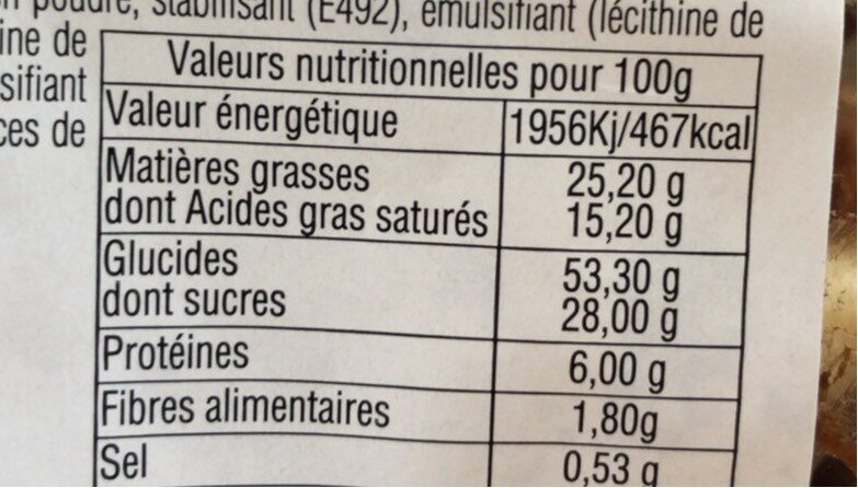 Gaufres liégeoises nappage cacao - Informations nutritionnelles - fr