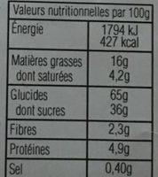 Gaufres Fourrées Goût Vanille - Información nutricional