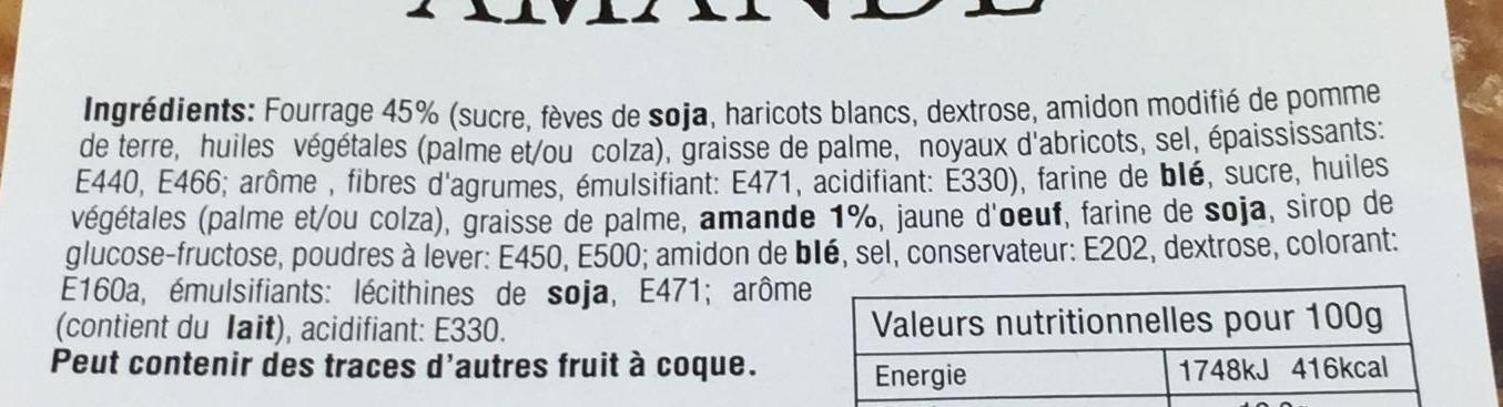 Carrés fourrés amandes - Ingrediënten - fr