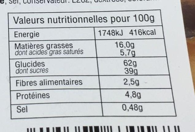 Carrés fourrés amandes - Voedingswaarden - fr