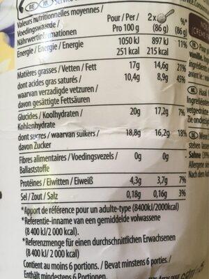 Pot Crème Glacée vanilla - Informations nutritionnelles - fr