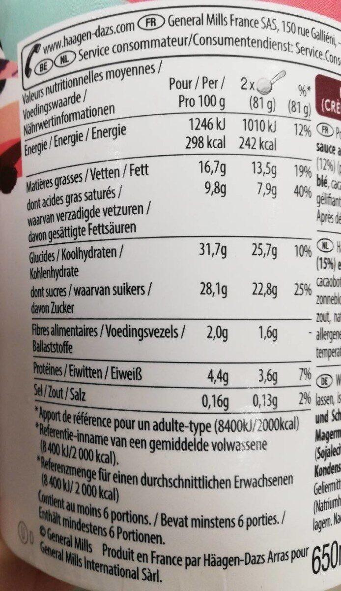 Häagen-Dazs chocolate frappé - Informations nutritionnelles - fr