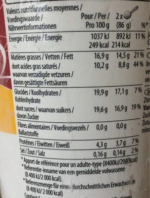 Vanilla - Voedingswaarden - fr