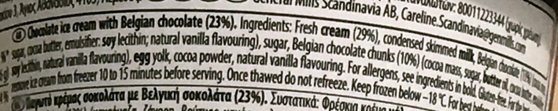 Belgian Chocolate Ice Cream - Ingredients - en
