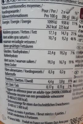 Crème glacée cookies & cream - Voedingswaarden - fr
