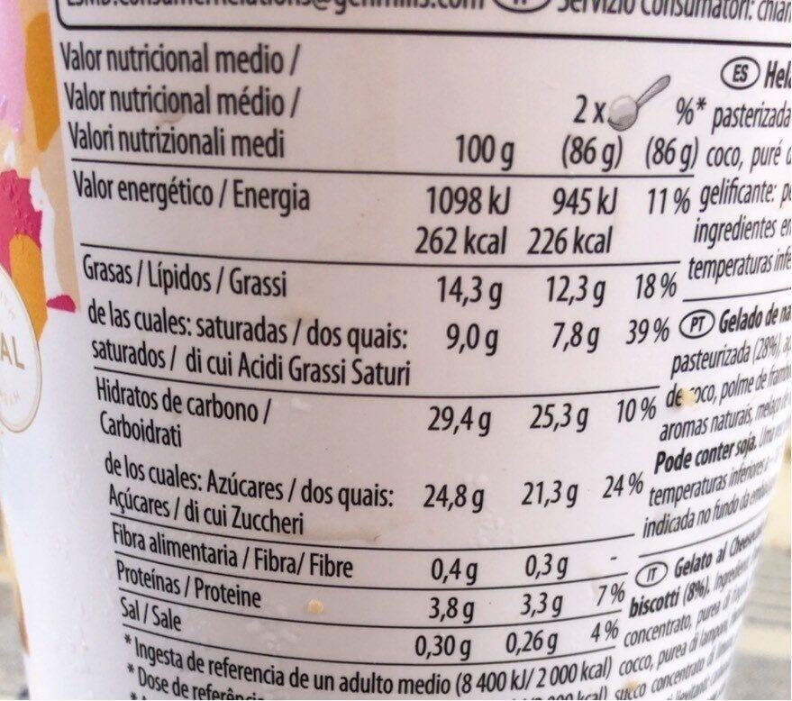 Cheescake - Informations nutritionnelles - es