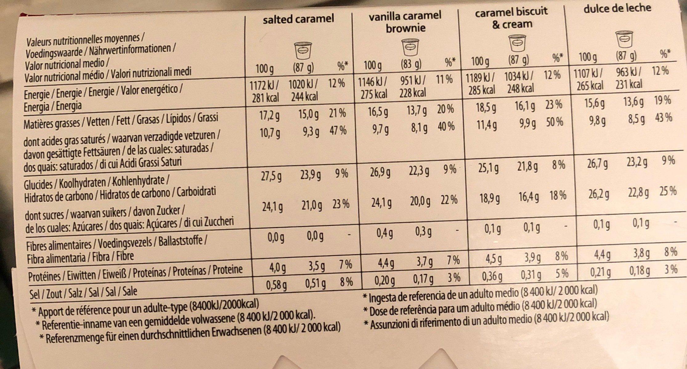 4 mini pots - Caramel Attraction - Informations nutritionnelles - fr
