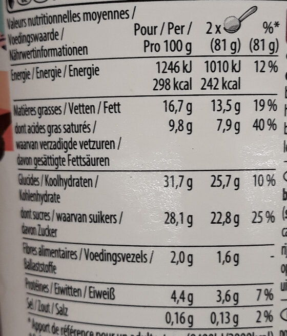 Chocolate Frappé Barista Collection - Informations nutritionnelles