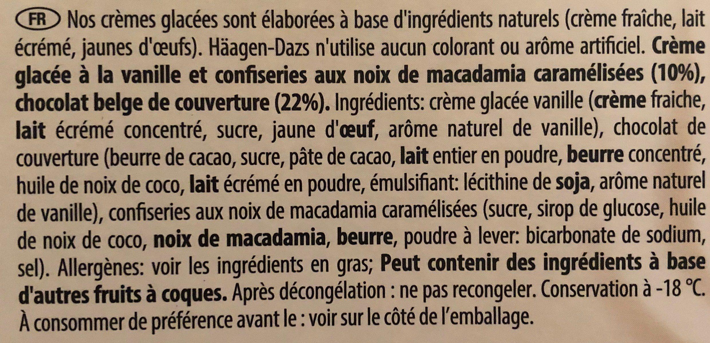 Crème Glacée Macadamia Nut Britle - Ingrediënten