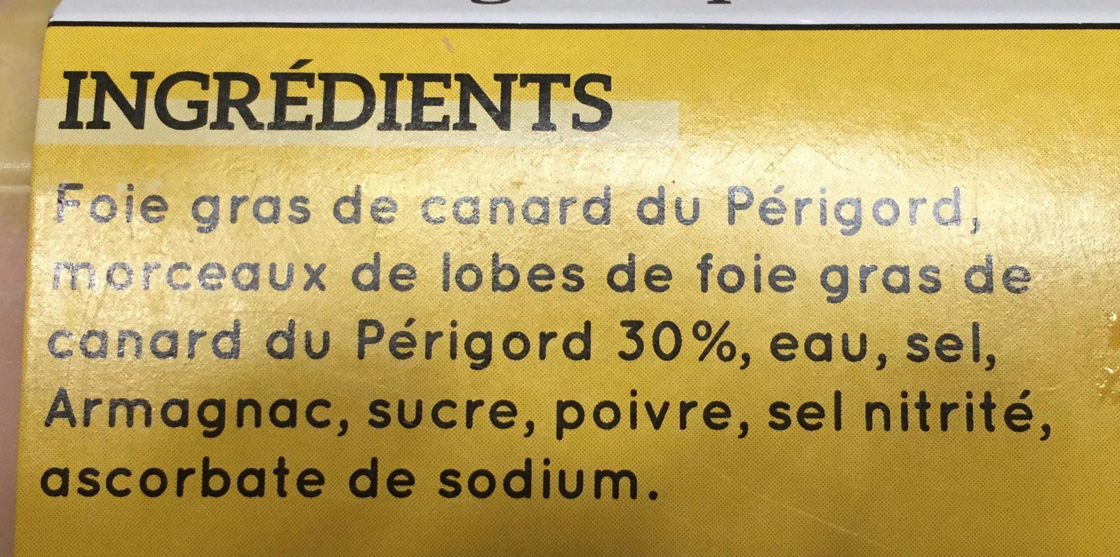 Bloc de foie gras de canard du Périgord 30% de morceaux - Ingredients