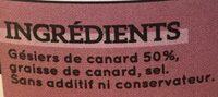 Gésiers de canard confits à la graisse de canard ESPINET - Ingredients