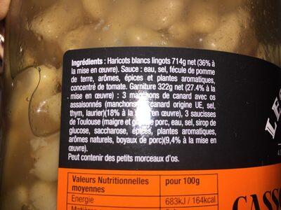 Cassoulet au confit de canard - Ingrédients