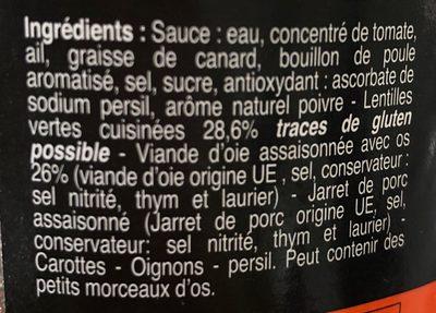 Petit salé d'oie - Ingrediënten - fr