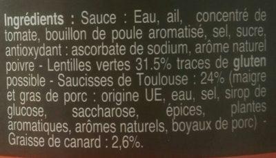 Plats cuisinés saucisses lentilles Les Bories - Ingrediënten - fr