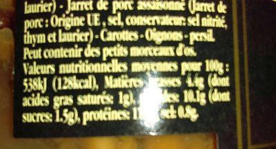 Petit Salé d'Oie Aux Lentilles Vertes Cuisinées - Informations nutritionnelles