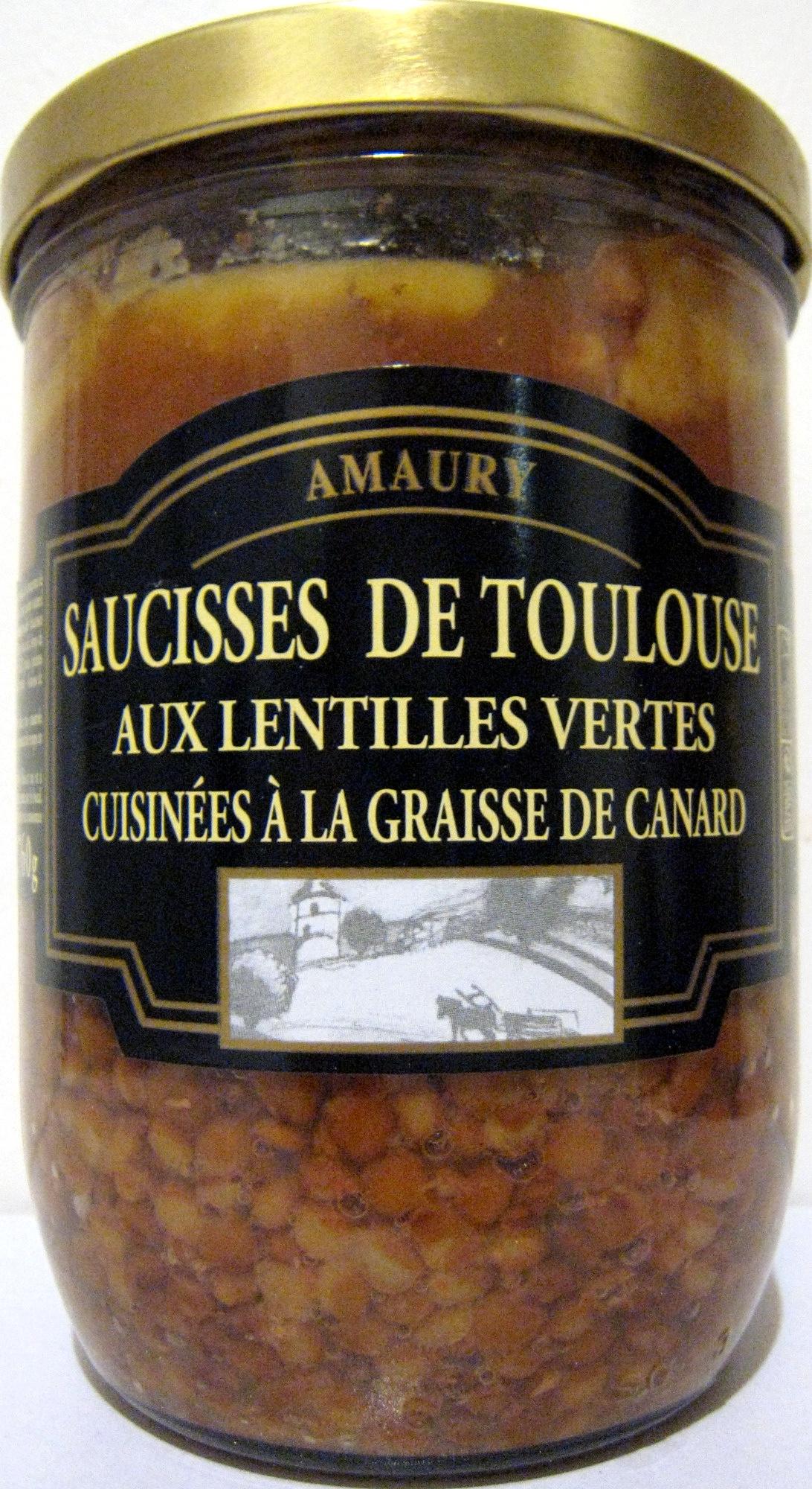 Saucisses de Toulouse aux lentilles vertes cuisinées à la graisse de canard - Produit