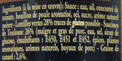 Saucisses de Toulouse aux lentilles vertes cuisinées à la graisse de canard - Ingrédients