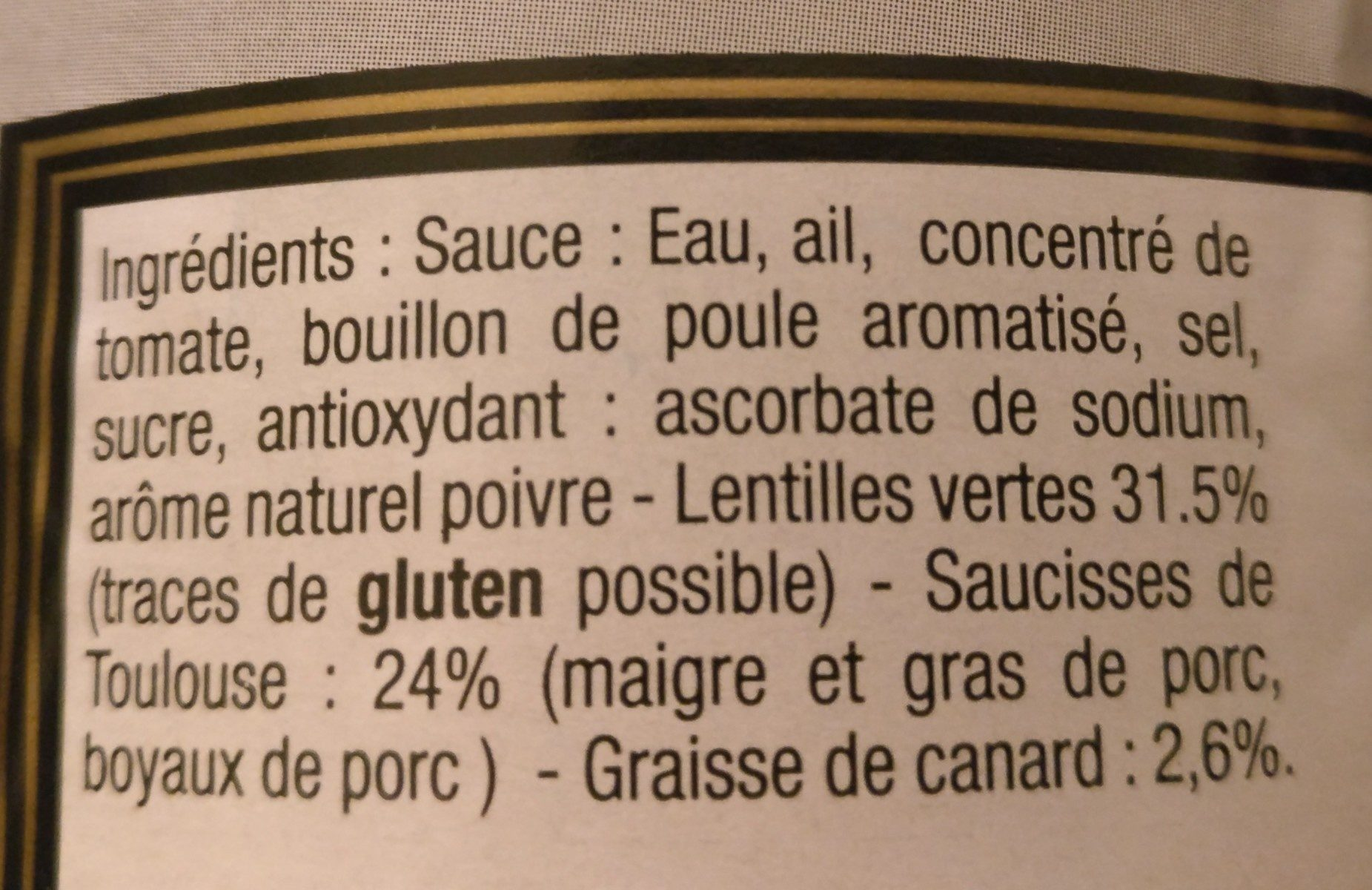 Saucisses de Toulouse aux lentilles vertes - Ingrediënten - fr