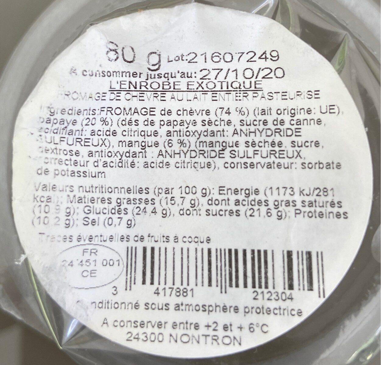 L'Enrobé chevre mangue papaye - Informations nutritionnelles - fr