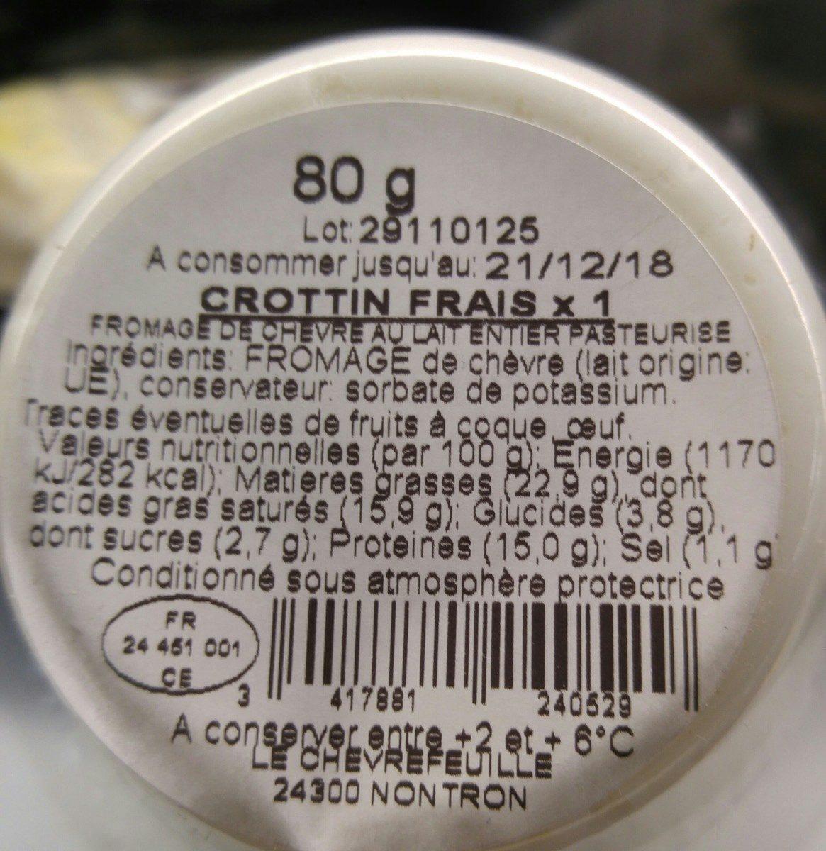 Crottin chèvre frais 80g F.E. - Ingrédients - fr