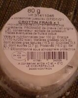Crottin chèvre frais 80g F.E. - Informations nutritionnelles - fr
