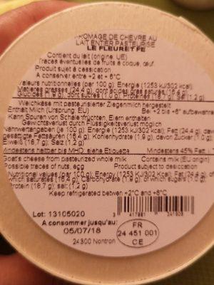 Fromage de chèvre au lait entier pasteurisé - Ingrédients - fr