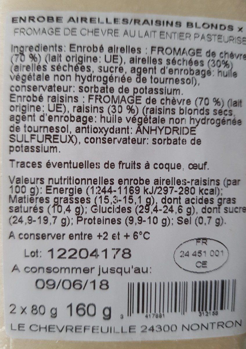 Fromage de chèvre enrobé aireilles raisin blond - Ingrédients - fr