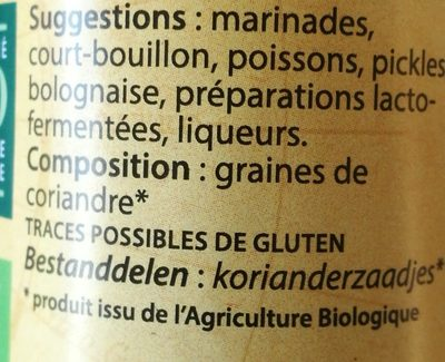 Coriandre graines - Ingrediënten - fr