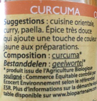 Curcuma poudre - Ingrediënten