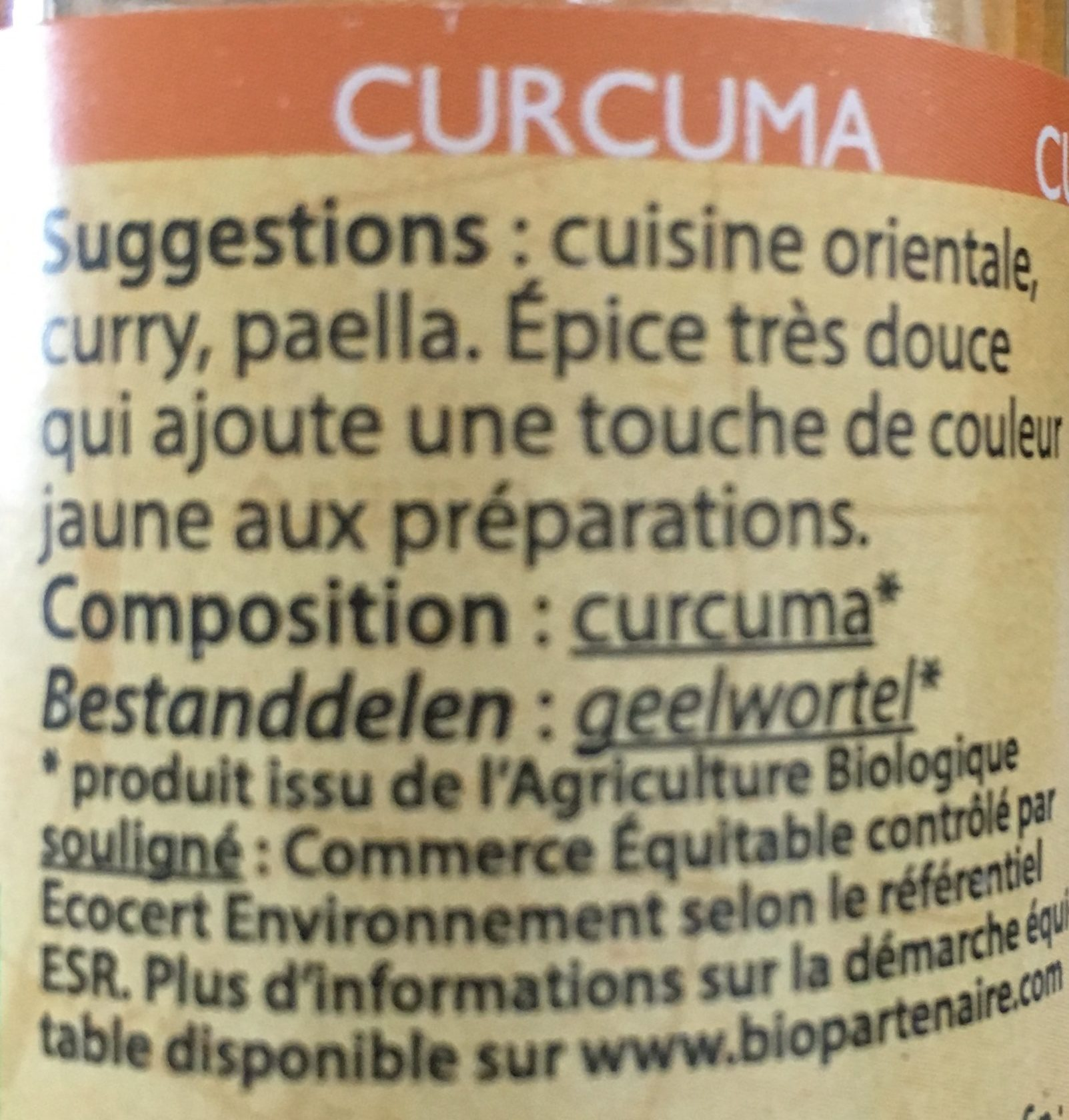 Curcuma poudre - Ingrediënten - fr