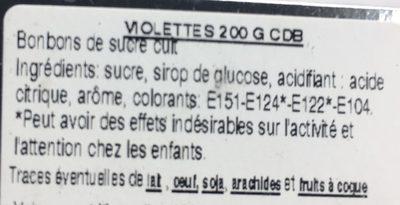 Violettes - Ingrédients - fr