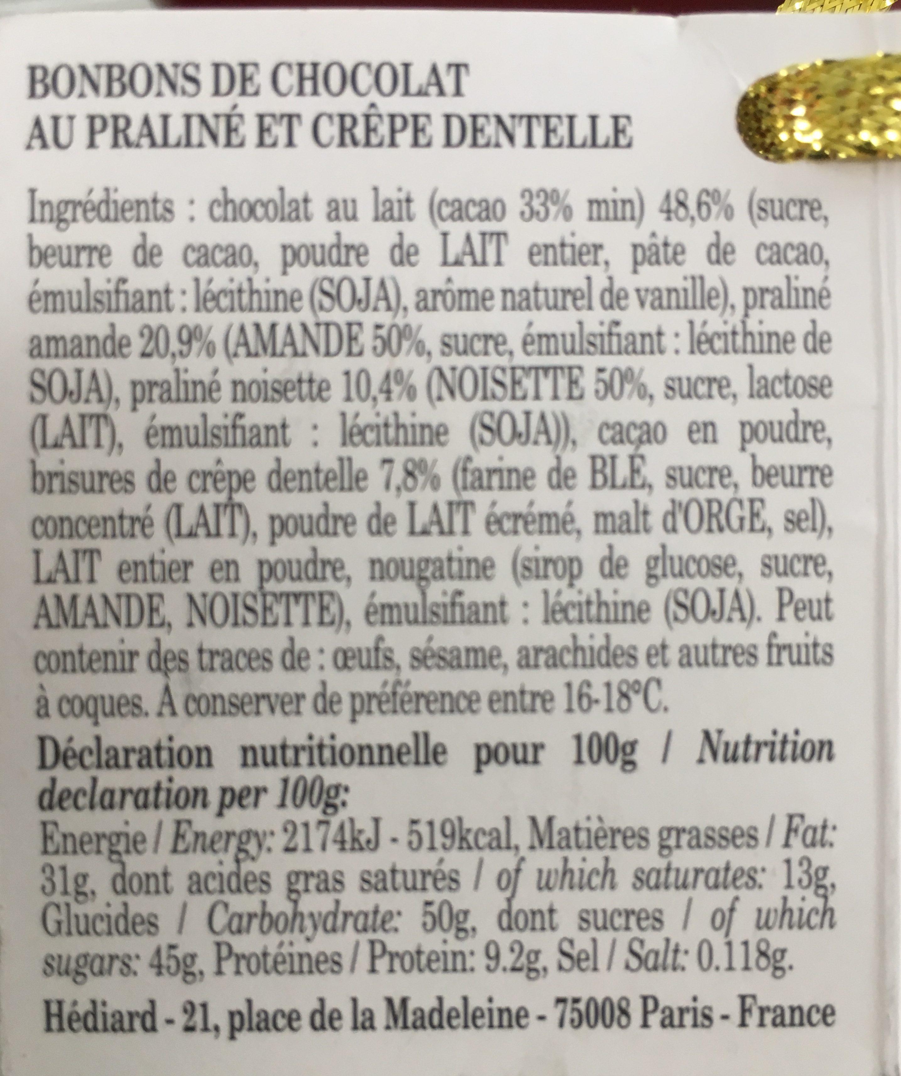 Truffelines - Ingrédients