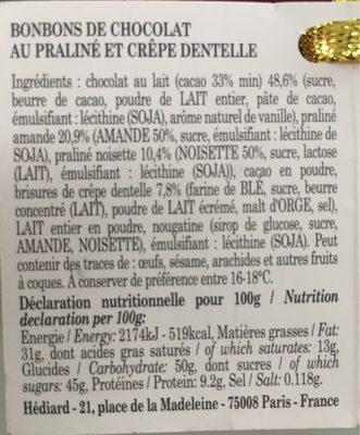 Truffelines - Informations nutritionnelles