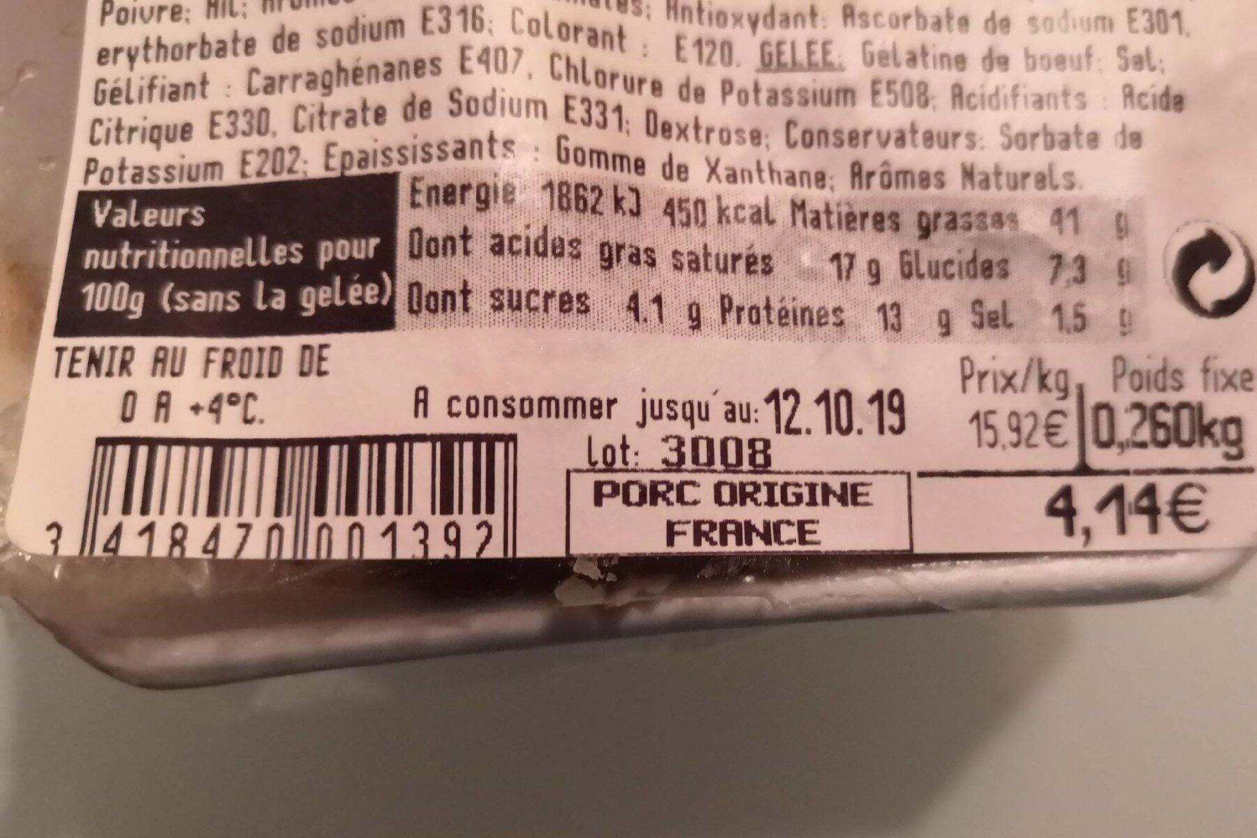 Terrine aux pommes - Informations nutritionnelles - fr