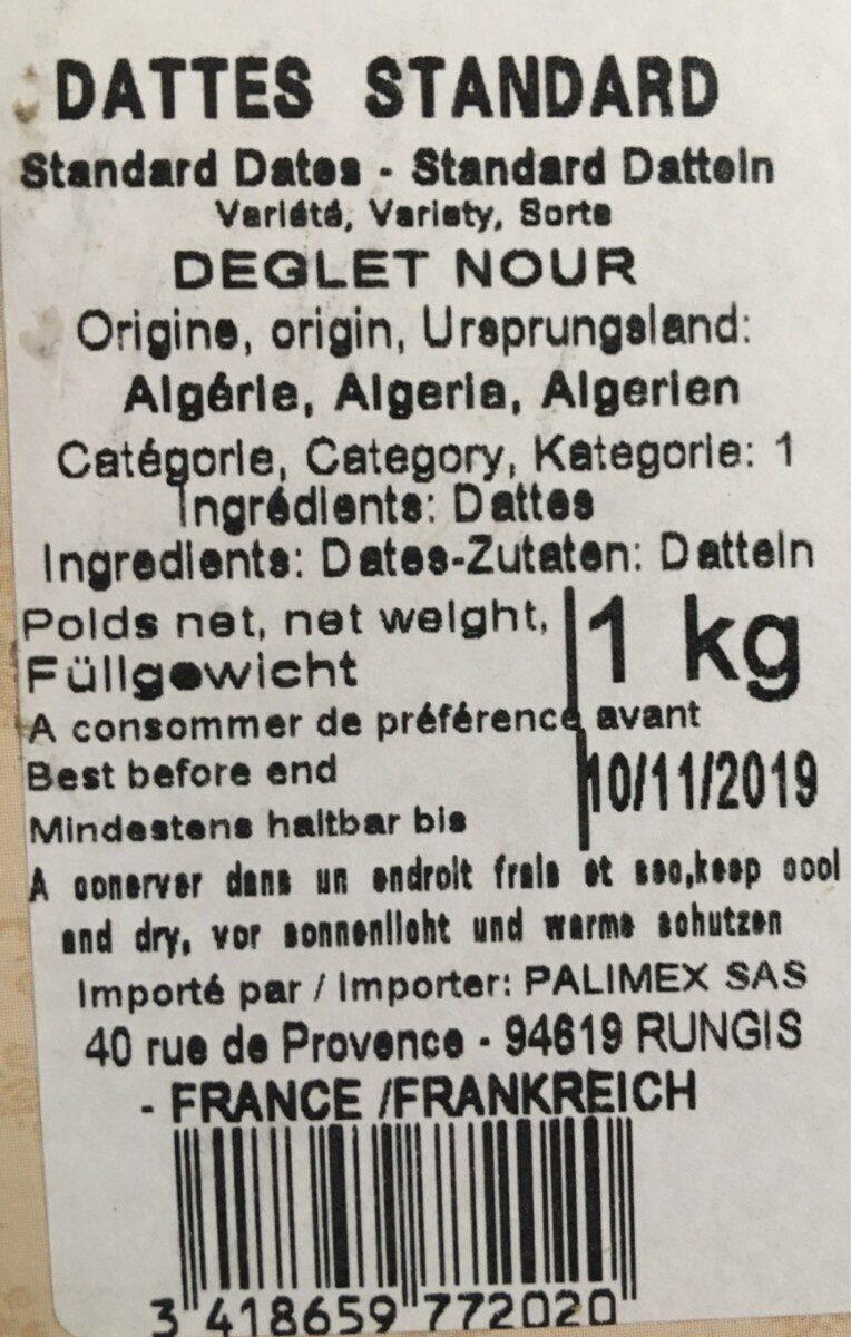 Dattes Deglet Nour d'Algérie - Ingredients