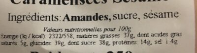 Amàdes  caramelisees sesame - Nutrition facts - fr