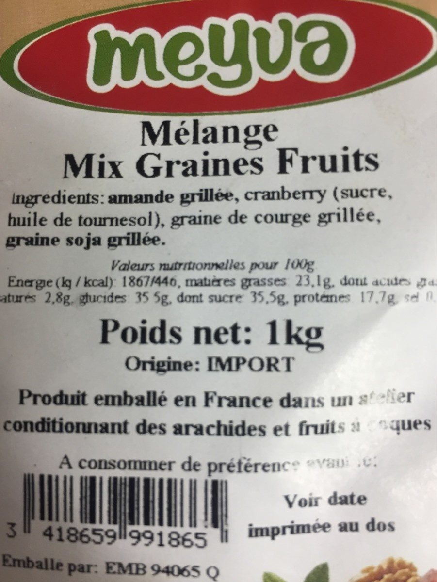 Melange mix graines fruit - Ingredients - fr