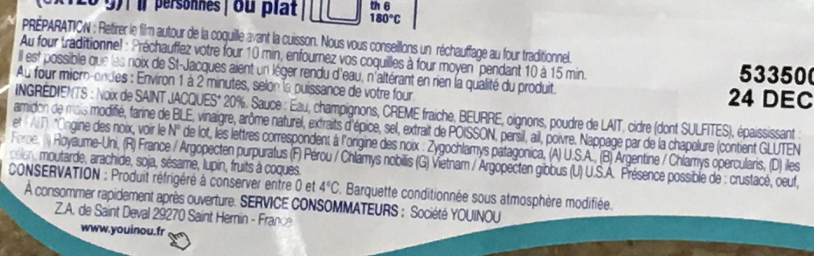 Coquilles Saint Jacques cuisinées à la Bretonne - Ingredients