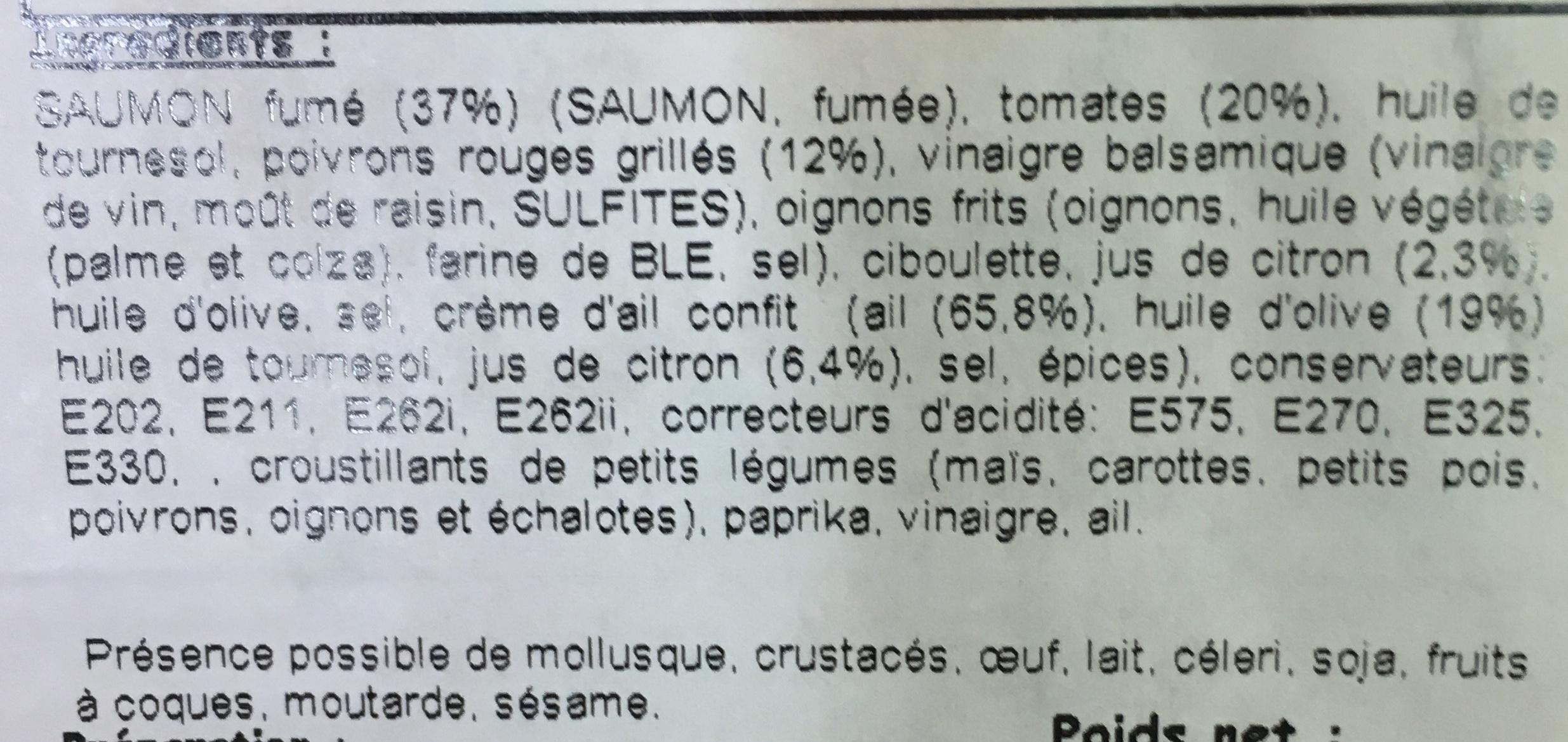 Tapas Saumon fumé tomates séchées & poivrons grillés marinade au citron - Ingrédients