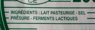 Fromage Non Affiné Blanc (26% M.G) - Ingrédients